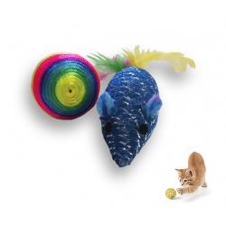 Juguete Ratón y Pelota cuerda para Gatos